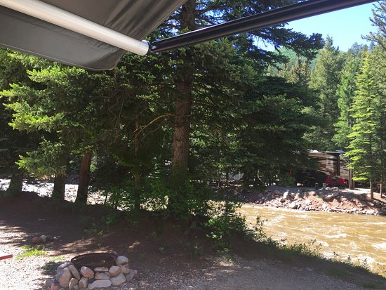 Priest Gulch Campground , RV Park, Cabins & Lodge: Looking from the 5th wheel right at the Dolores River.