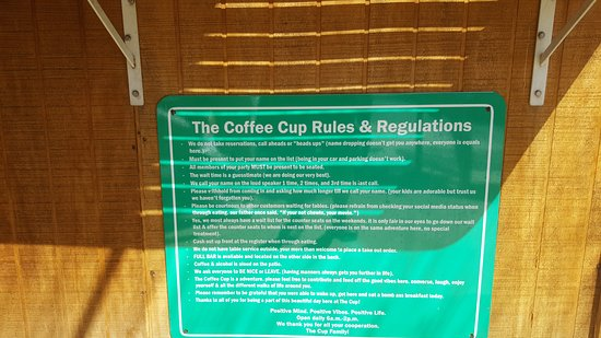 Coffee cups rules and regulations.