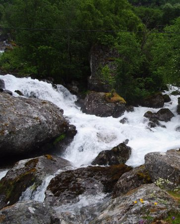 Skjolden, Norway: Beauty of the contrast of stones, mighty river and vegetation