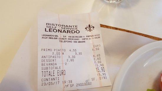 Ristorante Self-Service Leonardo: o preço