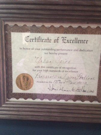 Iselin, NJ: Certificate of Excellence