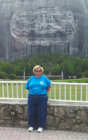 Stone Mountain Carving: Pic of the wife in front of the carving