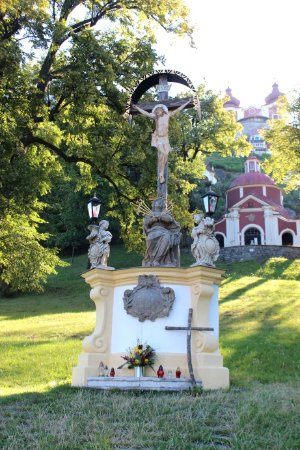 Banská Štiavnica, Slovensko: Statua e kostol