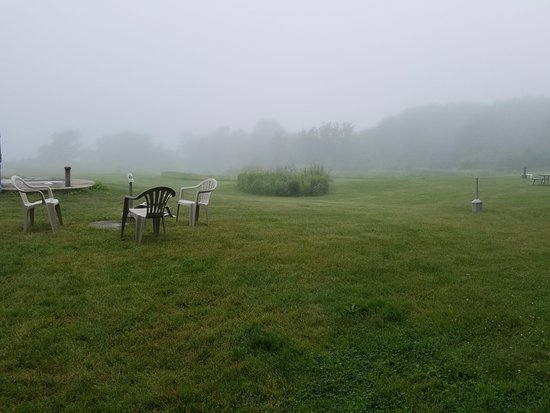 Belfast, ME: it is foggy but that is ocean that is beautiful except for those tacky smoking poles which
