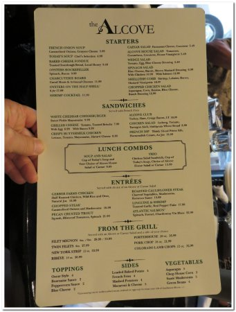 Mount Vernon, OH: Alcove menu, not extensive but everything I've tried has been good or excellent