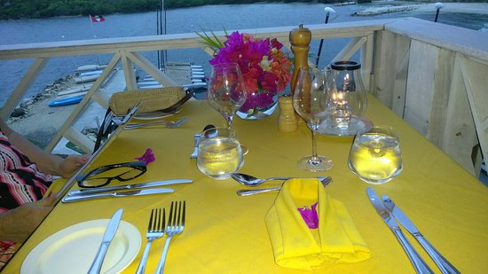 Freetown, Antigua: Special table setting for anniversary