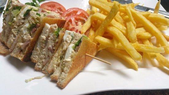 District Paphos, Cyprus: club sandwich and chips
