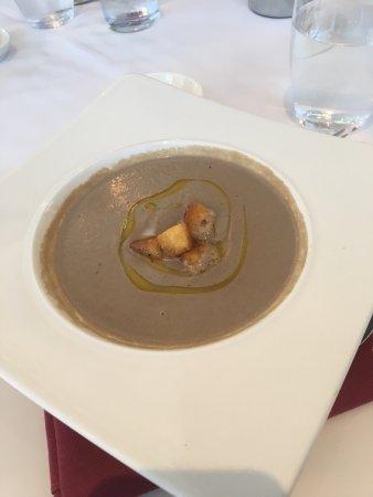 Orsett, UK: Mushroom soup for starter, Lamb cannons for main and dessert sampler! All dishes were superb.