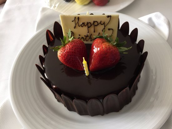 Grand Hyatt Baha Mar Birthday Cake Chocolate With Covered Strawberry Sllices