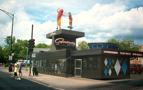 Superdawg Drive In Streetview Near 3 Street Intersection Milwaukee Nagle