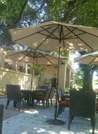 Healdsburg, CA: A snapshot of the outside lounge area--plenty of room and shade to sip and savor wine.