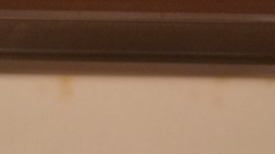 Hawthorn Suites by Wyndham Green Bay : Cigarette stains on bathroom vanity and doors that don't fit on faux vanity.