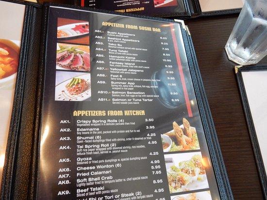 Menu - Picture of Masa Asian Bistro And Bar, Weeki Wachee ...