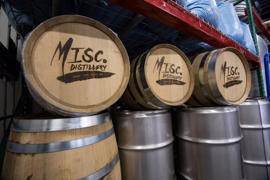 MISCellaneous Distillery: Barrels of spirits aging for future release