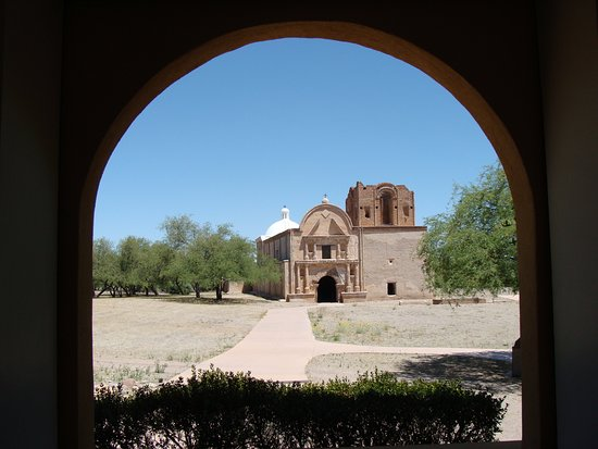 Tumacacori, AZ: A view of the church from the museum