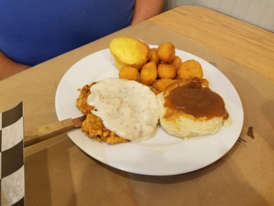 Ravenel, SC: Country fried steak, mashed potatoes, and corn nuggets