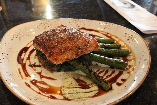 Pacific City, OR: salmon w/ quinoa/sweet potato patty and asparagus