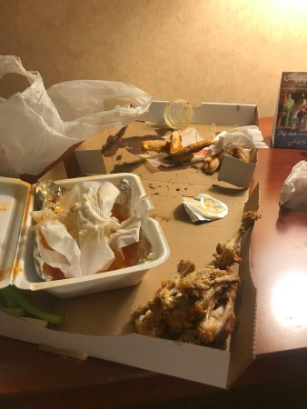 Oswego, NY: This is what's left of some goooood food! Came into town late on a Sunday(9pm). Not many choices