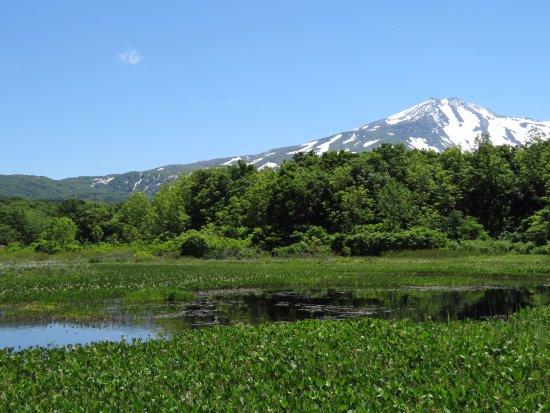 Yurihonjo, Япония: 残雪の鳥海山と池塘