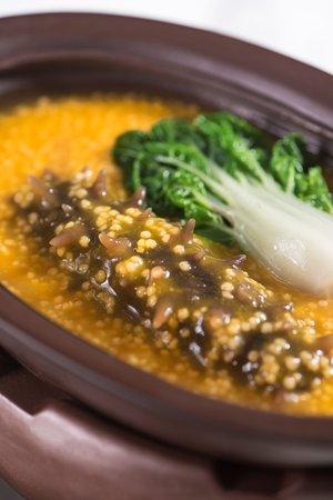 Huizhou, China: 金丝黄金米煮辽参 Stewed Sea Cucumber with Golden Rice
