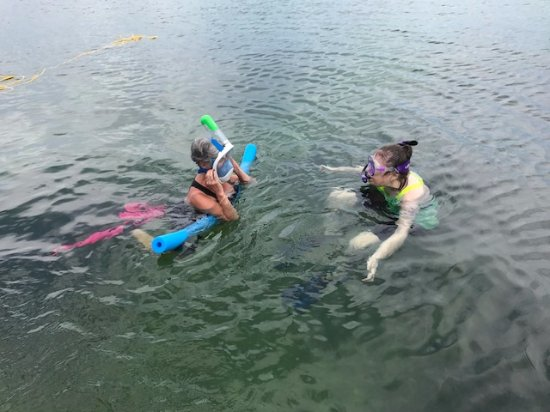 Tavernier, FL: getting ready to snorke with our bestie...a newbie....and she LOVED it!