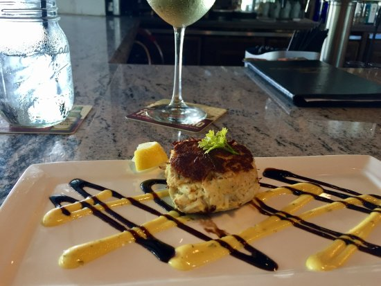 Rockfish Seafood & Steaks: Crab cake appetizer is all crab meat. Served with a mustard aioli & balsamic reduction.