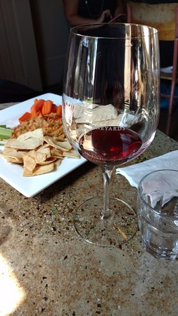 Hye, TX: Wine tasting with hummus plate. You've got to try the hummus!!!