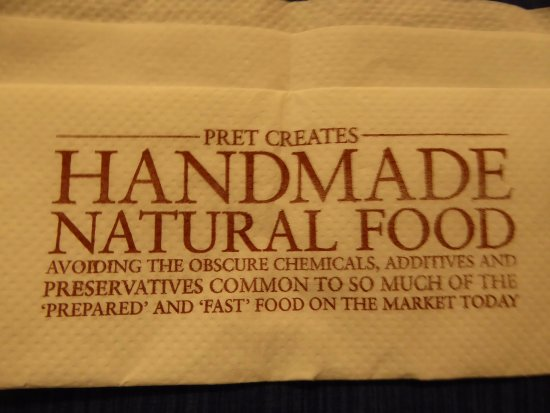 Pret a Manger: Napkin Tells the Story About Pert a Manger