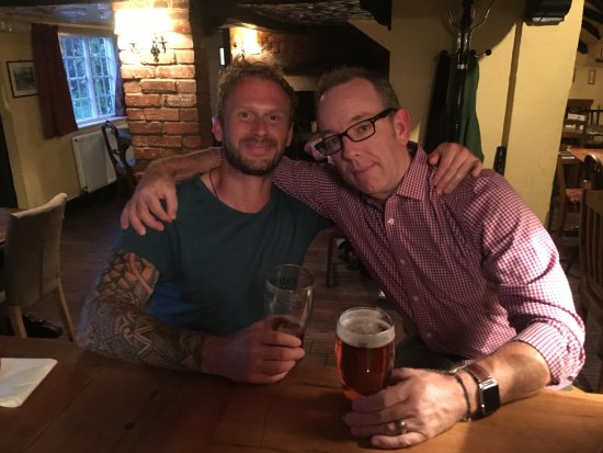 Wickham, UK: Mike and me sharing a pint