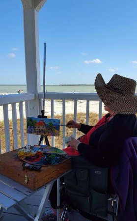 Boca Grande, FL: Local Artist painting on the lighthouse porch