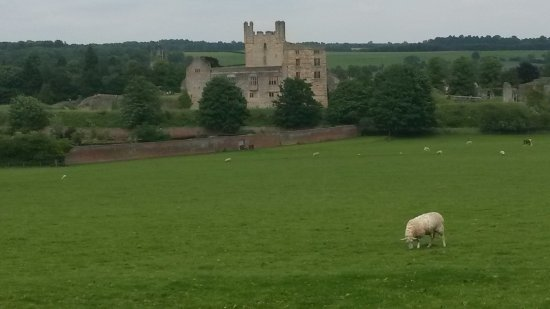A view of Helmsley Castle on the drive up to the entrance
