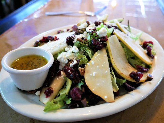 West Allis, WI: Pear Salad with Praline pecans, Dried Cranberries and Feta