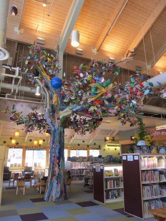 The library tree:Ketchikan branch, fiber art, Ann Carlson, Sherry Henrickson, Jackie Keizer,