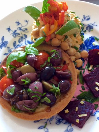 Headcorn, UK: Olive And Baby Tomato Tarts With Lemony Beets And Houmous 