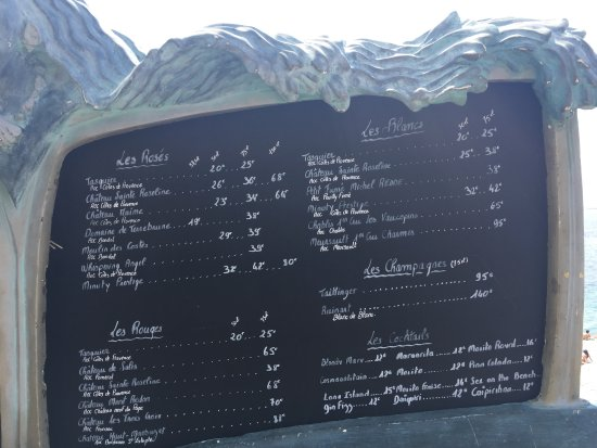 Castel Plage : great choice of wines