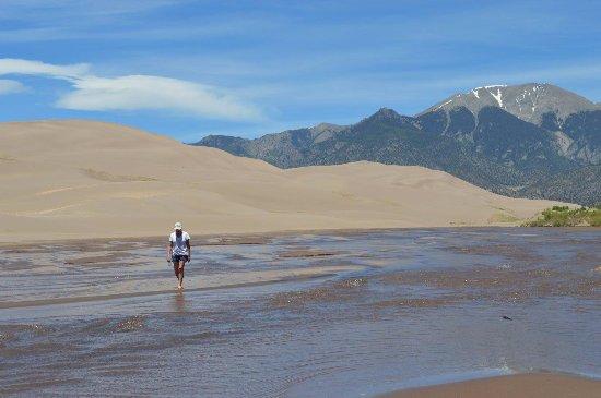 Taken June 2017 - Medano Creek, sand dunes, and snow capped ...