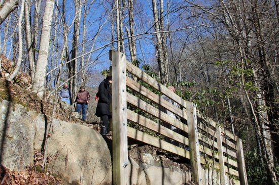 Maggie Valley, NC: Railing just prior to viewing deck and where you can climb down to the bottom.