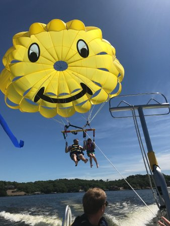 Lake Ozark, MO: My 9 year old holding on for dear life!