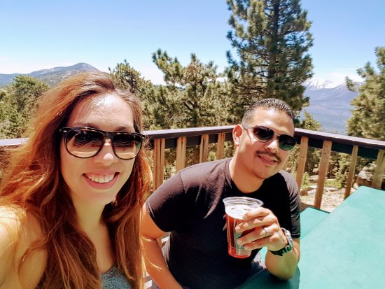 Snow Summit: Enjoying a beer at the top