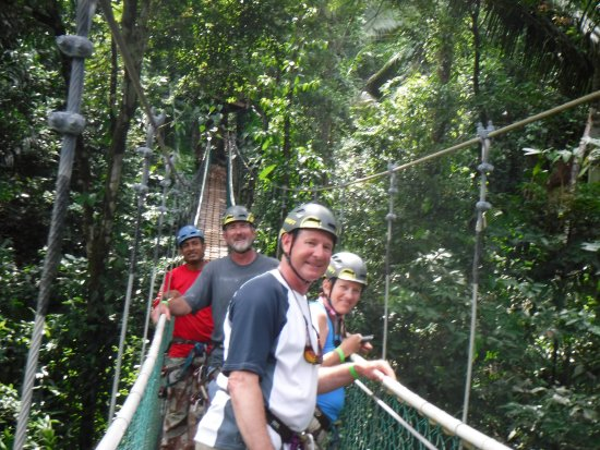 Hopkins, Belize: this was a beautiful suspension bridge we walked on.