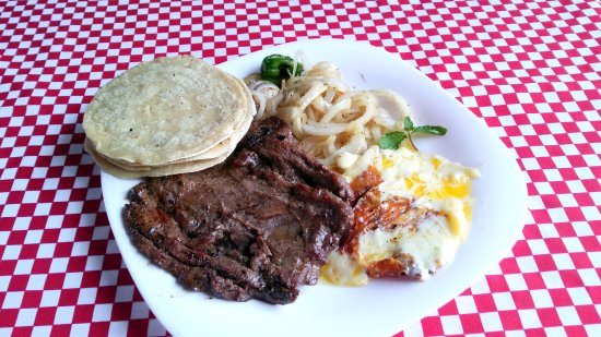 Belmopan, Belize: 8 oz of soft tender meat with grilled onion, grilled  cheese and soft handmade corn tortillas