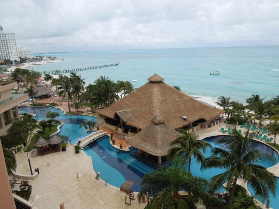 Grand Fiesta Americana Coral Beach Cancun: view of pools and beach from private balcony