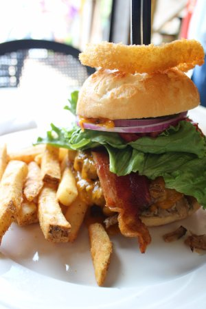 Lake Lure, NC: The pork could use more flavor, otherwise great burger