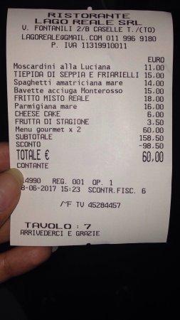Caselle Torinese, Italy: Conto con coupon da €60