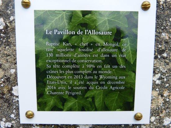 Vezac, Fransa: Panneau explicatif sur l'allosaure