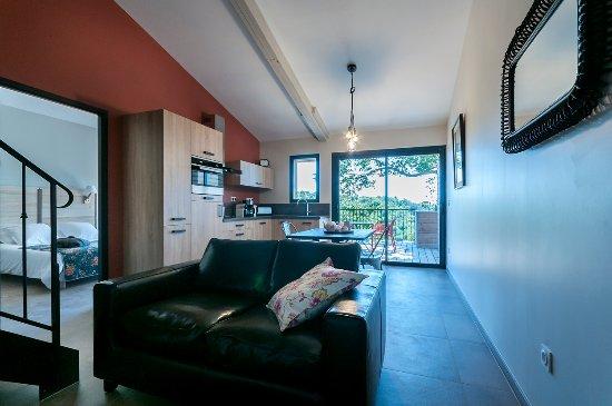 Largentière, France : Gite Barnabé. .la pièce à vivre. .cuisine et séjour. .
