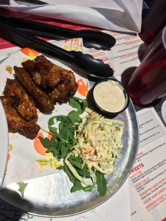 Pie Wood Fired Pizza Joint: Family dinner. Vegetarian dishes + wings