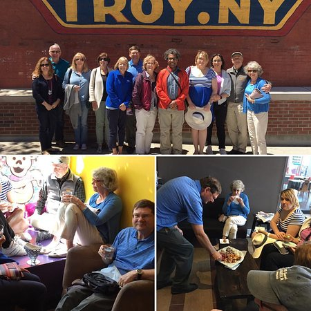 Last tour for May by iconic Troy sign and enjoying tastes!