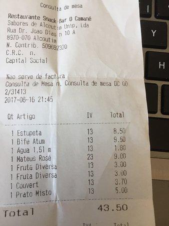 Alcoutim, Portugal: L'addition...la seule chose qui était comestible c'est le vin et l'eau