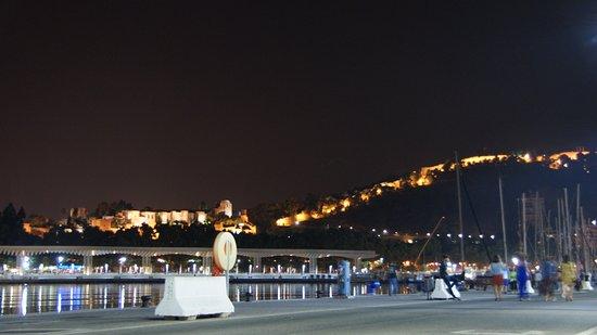 Alcazaba (fort) : Огни Алькасабы и Гибральфаро с набережной.